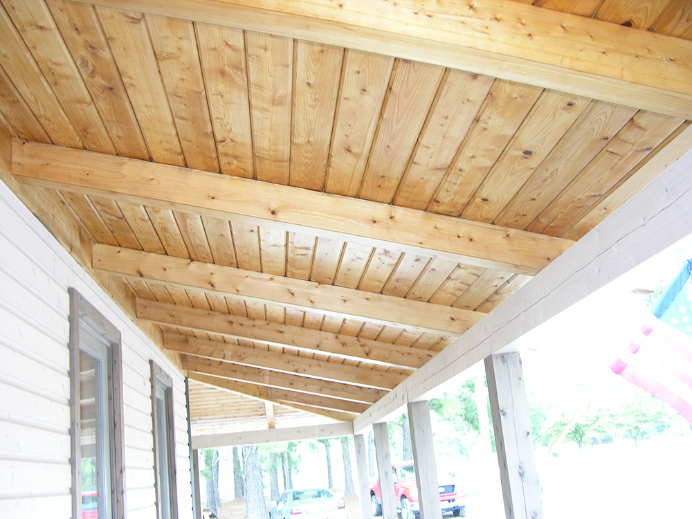 Atlantic White Cedar STK Exterior Porch Ceiling & Beams