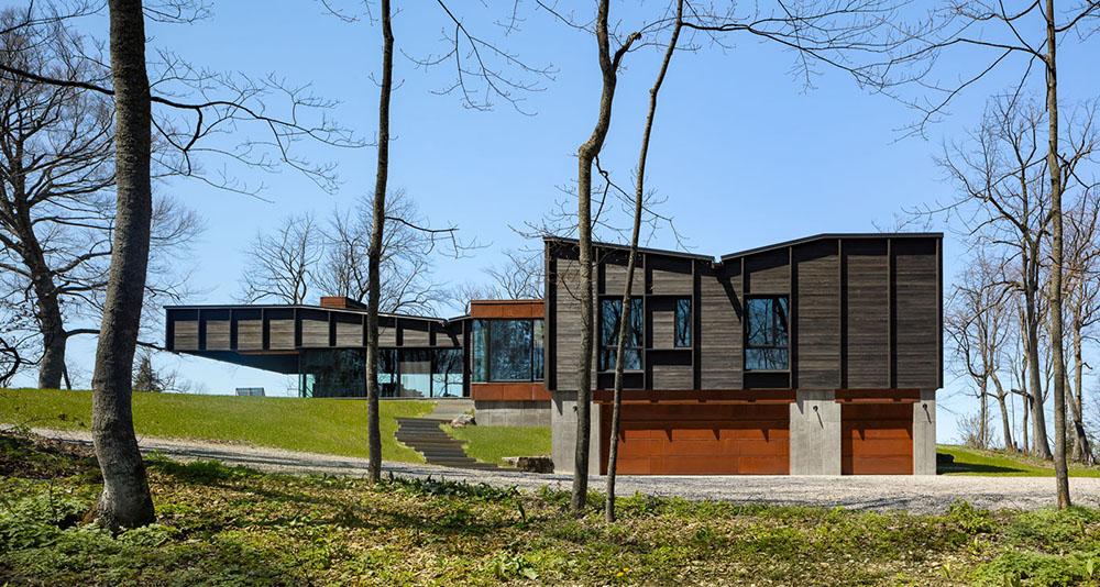 Rendering modern home, dark wood paneling 7