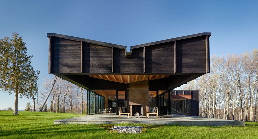 Rendering modern home, dark wood paneling 2