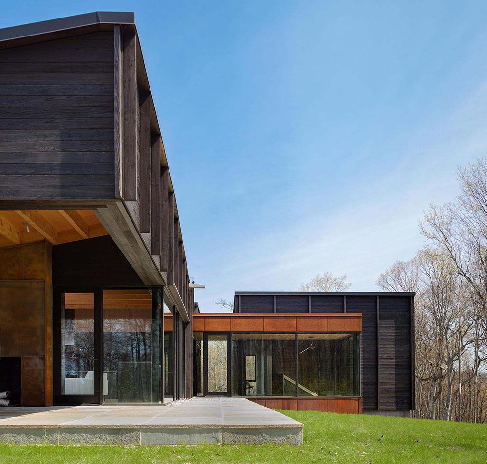 Rendering modern home, dark wood paneling 6