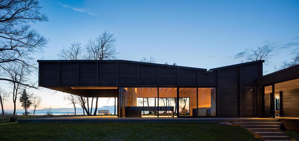 Rendering modern home, dark wood paneling 4
