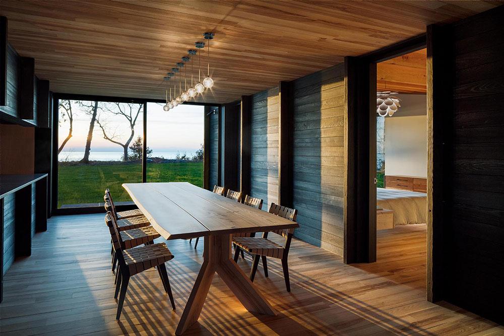 Rendering modern home, dark wood paneling interior 2