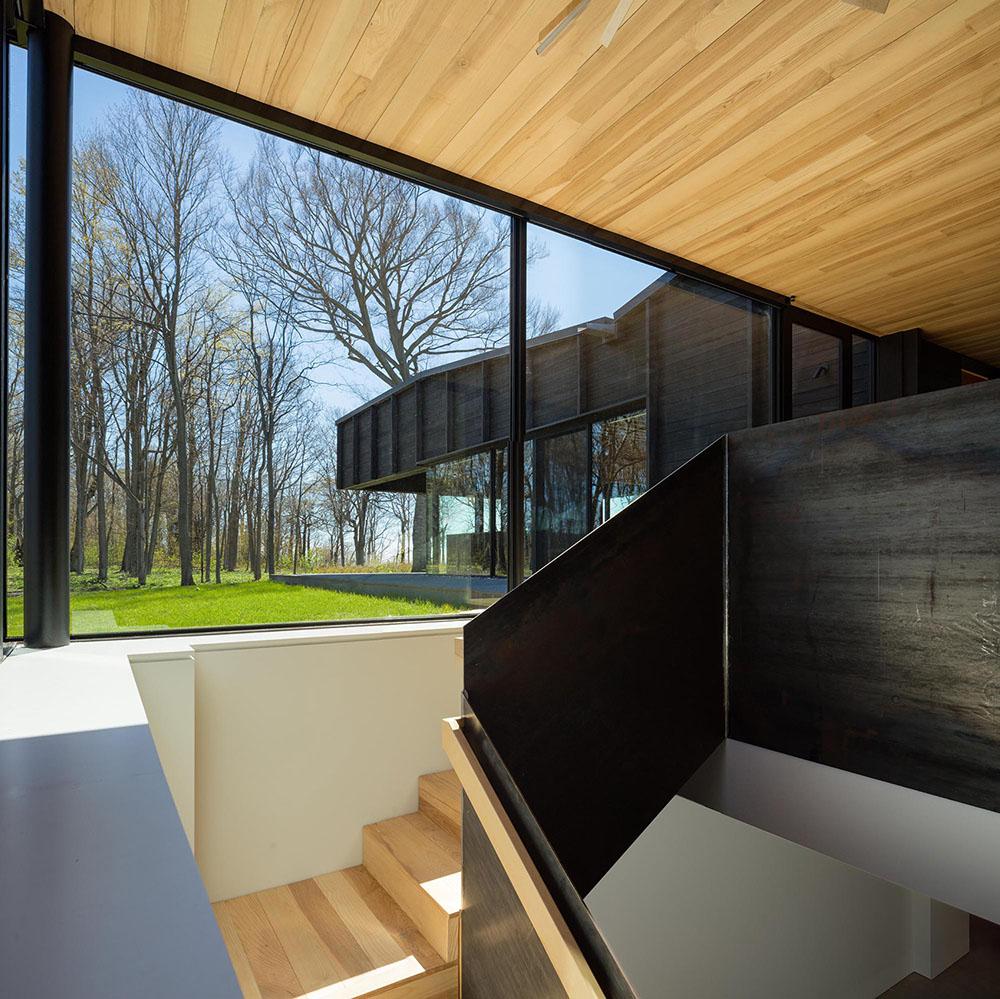Rendering modern home, dark wood paneling interior