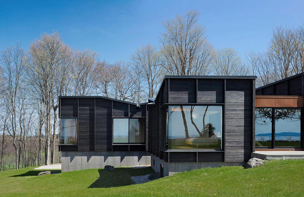 Rendering modern home, dark wood paneling